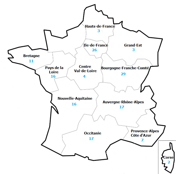 Répartition géographique des 151 opérations ayant bénéficié du fonds en 2018 (nombre d'opérations)