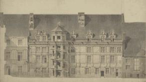 Château de Blois, Loir-et-Cher, Aile et escalier François 1er : Élévation côté cour avant restauration, Félix Duban