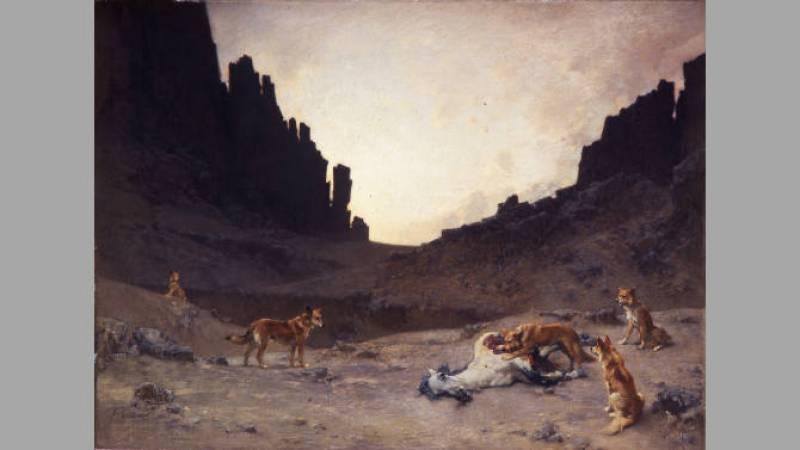 Gustave Guillaumet, Chiens arabes dévorant un cheval mort - Musée des Beaux Arts de Carcassonne
