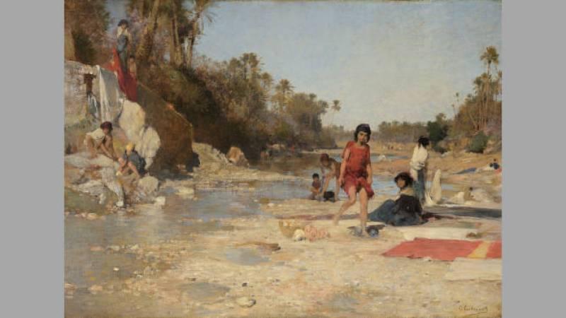Gustave Guillaumet, Laveuses dans l'Oued de Bou Saâda - Collection particulière