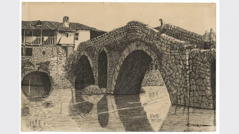 Dessin d'un pont - Italie 1930