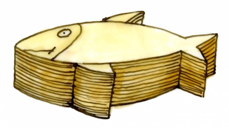 Tomi Ungerer, Millefeuille de sandre, dessin pour La Cuisine Alsacienne, 1985, Collection Musée Tomi Ungerer - Centre international de l'Illustration, Strasbourg