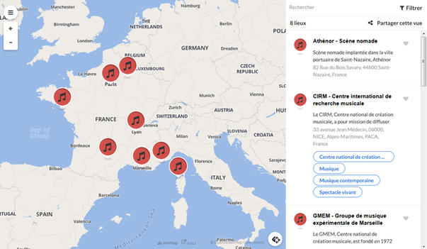 Carte des Centres nationaux de création musicale